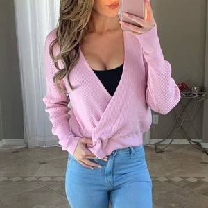 New Leith Surplice Wrap V Neck Ribbed Crop Sweater